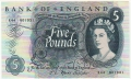Bank Of England 5 Pound Notes To 1970 5 Pounds, from 1967
