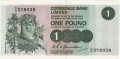 Clydesdale Bank Ltd 1963 To 1981 1 Pound,  1. 3.1977