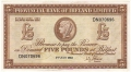Provincial Bank Of Ireland Ltd 5 Pounds,  5. 7.1963