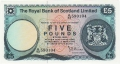 Royal Bank Of Scotland Ltd 1969 To 1981 5 Pounds,  3. 5.1976