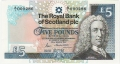 Royal Bank Of Scotland Plc 1 And 5 Pounds 5 Pounds, 25. 3.1987