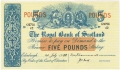Royal Bank Of Scotland To 1967 5 Pounds,  1. 7.1952