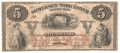 USA Colonial And Broken Banks 5 Dollars,  1.11.1862