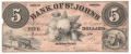 USA Colonial And Broken Banks 5 Dollars, 1860