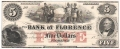 USA Colonial And Broken Banks The Bank of Florence,  5 Dollars, 18 - -