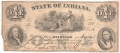 USA Colonial And Broken Banks State of Indiana, 1 Dollar, June 1861