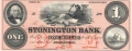 USA Colonial And Broken Banks The Stonington Bank, 1 Dollar, 18 - -