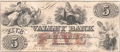 USA Colonial And Broken Banks The Valley Bank of Maryland, 5 Dollars,  1. 7.1856