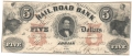 USA Colonial And Broken Banks The Erie & Kalamazoo Rail Road Bank, 5 Dollars,  1. 8.1853