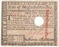 USA Colonial And Broken Banks State of Massachusetts-Bay,  20 Dollars,  5. 5.1780