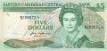 East Caribbean 5 Dollars, (1988-93)