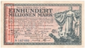 German Grossnotgeld Aachen and Cologne - 100 Million Mark, 25. 9.1923