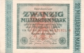 Germany 2 20 Milliarden Mark,  1.10.1923