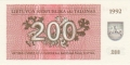 Lithuania 200 Talonu, 1992