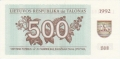 Lithuania 500 Talonu, 1992