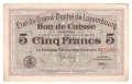 Luxembourg 5 Francs, 1914-1918