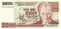 Turkey 100,000 Lira, (1997)
