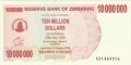 Zimbabwe-1 10 million Dollars,  1. 1.2008